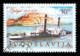 vintage stamp of river ship