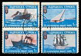 vintage stamp depicting  ships