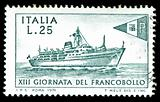 vintage stamp depicting passenger ship