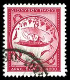 vintage stamp depicting ancient ship