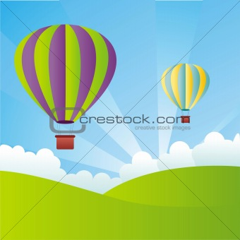 andscape with hot air balloons