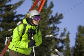 Skier looking for a ride
