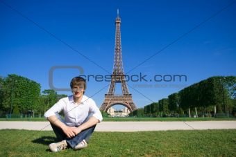 Young man on the Champs de Mars
