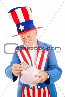 Uncle Sam Saving Money