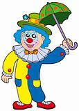 Funny clown holding umbrella