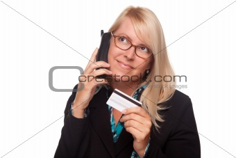 Beautiful Blonde Woman with Phone and Credit Card Isolated on a White Background.