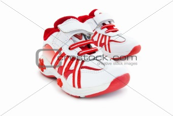 Red-white kids training shoes.