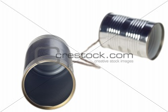 tin can telephone isolated on white
