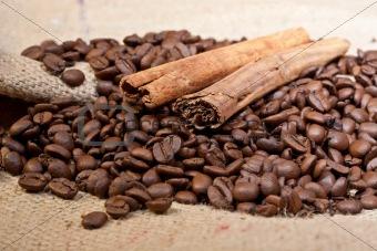 Cinnamon sticks and coffee