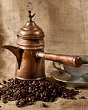Turkish coffee pot and beans
