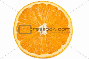 Slice of orange isolated on white