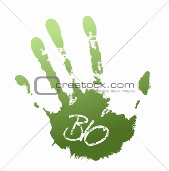 Green print of hand