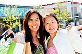 Young girlfriends shopping