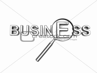 business word with magnifying glass