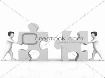 business concept of people with puzzle