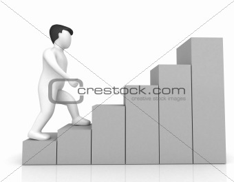 3d human on financial bar chart