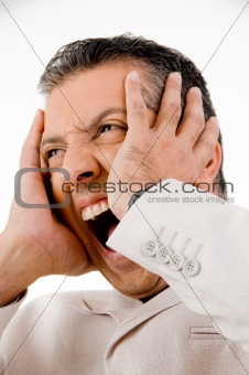 close up of shouting businessman