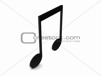 three dimensional black musical note