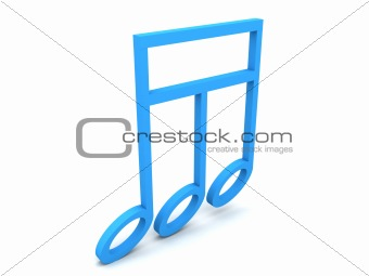 three dimensional rendered music notes