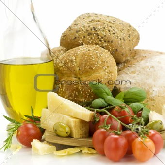 Fresh bread, herbs and vegetables