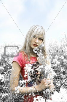 blond girl desaturate color