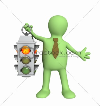 3d puppet - businessman with traffic-light