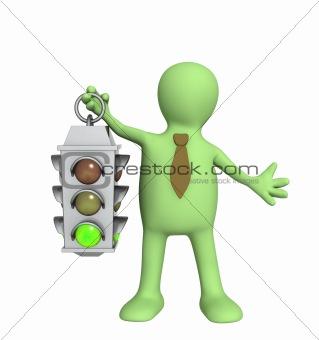 3d puppet - businessman with traffic-light