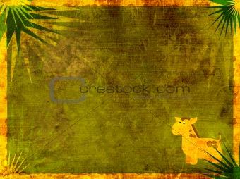 Grunge background with giraffe