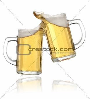 Celebration toast with beer