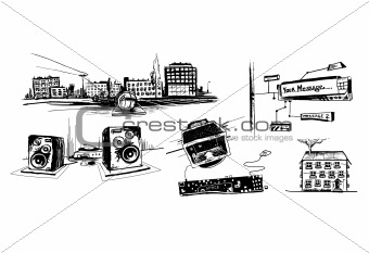 Sketch style vector hand drawing pictures