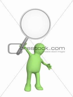 3d puppet, holding magnifier