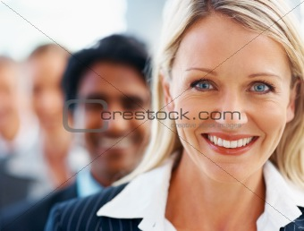 Closeup portrait of a pretty business woman smiling