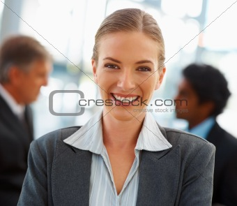Closeup portrait of a happy business woman