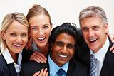 Portrait of cheerful business people smiling over white