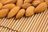almonds on a bamboo mat