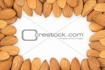 Almond nuts frame, clipping path.