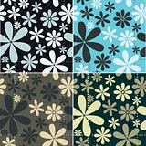 Retro Floral Pattern Set
