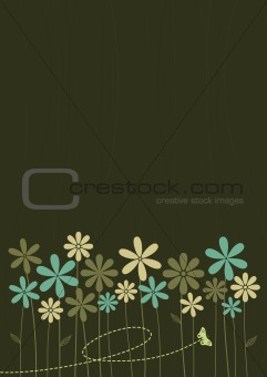 Abstract Retro Style Floral Background
