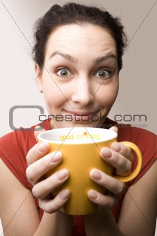 positive girl with yellow cup