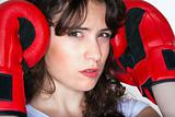 sport - young woman with red boxing gloves