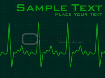 green ecg background with heart beat symbol