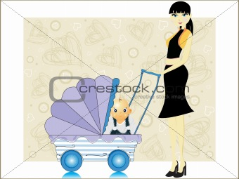 abstract heart background, baby in a pram
