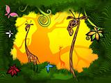 giraffes in the jungle