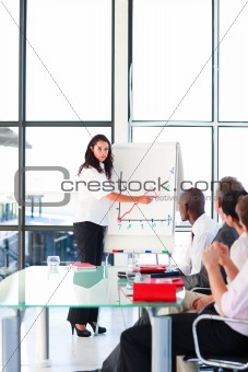 Confident businesswoman in a presentation