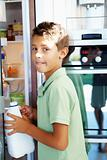young boy having milk from the refrigerator