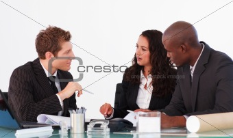 Business team conversing in a meeting