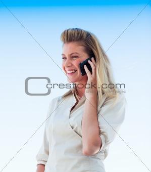 Beautiful girl speaking on phone