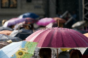 Crowd of people with umbrellas
