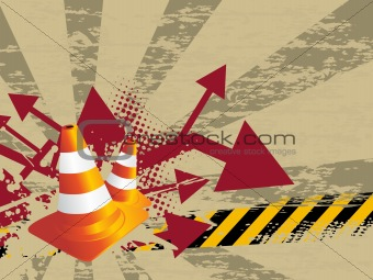 abstract background with traffic-cones illustration