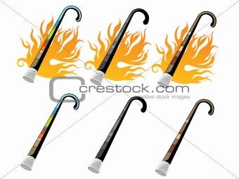 cane in fire